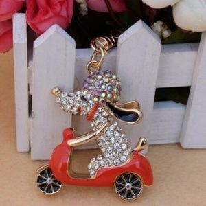 Accessories - 3 for $18 crystal dog riding motorcycle keychain